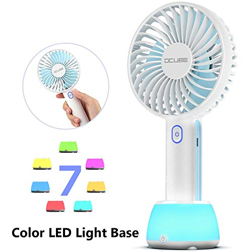 OCUBE Handheld Fan, Mini Hand Held Fan with 7 Color LED Light Base, 2000mAh Battery Operated USB Rechargeable Desk Fan, 3 Speeds Electric Portable Personal Cooling Fan for Home Office Travel (Blue)