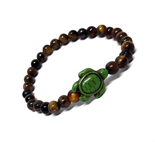Tiger Eye Stone Beads Hawaiian Sea Hemp Agate Stones Bracelet with Turtle in Green (Sterling Rope Boot Laces)