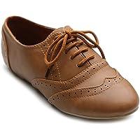 Ollio  Zapato de mujer Classic Lace Up Vestido plana de tacón bajo oxford