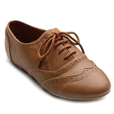 Ollio Women's Shoe Classic Lace Up Dress Low Flat Heel Oxford (5.5 B(M) US, Brown)