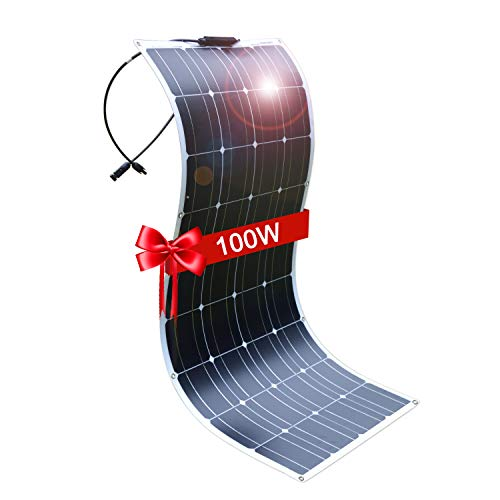 DOKIO Solar Panel 100W 12V Bendable Semi-Flexible Thin Film Monocrystalline