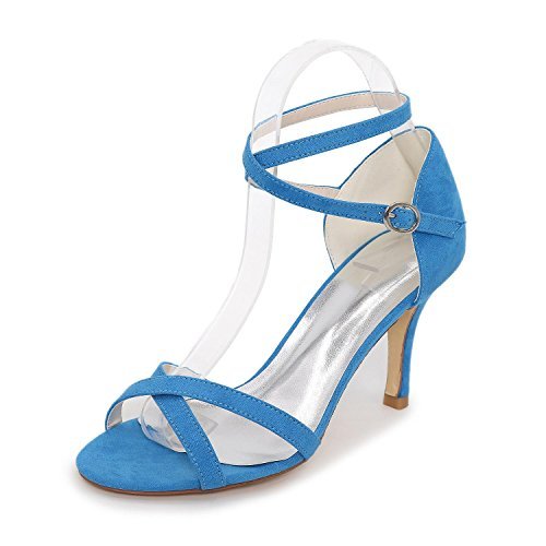 L@YC Women's Shoes Suede Stiletto Heel Heels / Styles / Open Toe Sandals Office & Career / Party & Evening Blue xshGR8BDiI