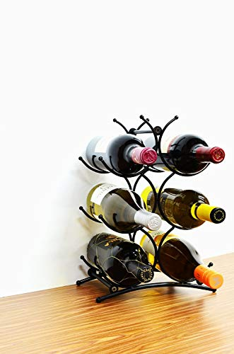 Superiore Livello Turin Wine Rack 6 Bottle Countertop Metal Wine Holder Free Standing Rack for Floor or Table Top Modern Scroll Art Design Perfect for Storage ()