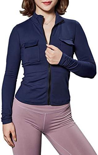 ワークアウトを実行するためのヨガトップス、ファッション長袖ジッパージャケットと速乾性の下着スリムフィットスポーツジャケットレディース,S