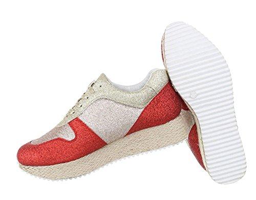 2d0af0998cc9e7 Damen Sneakers Glitzer Schuhe gelochte Seiten Sneaker Low Leder ...