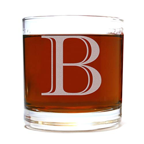 Etched Monogram 10.5oz Rocks Old Fashioned Lowball Glass for Whiskey Scotch Bourbon (Letter B)