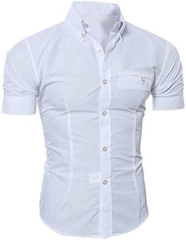 POLPqeD - Camisa de Manga Corta para Hombre de Estilo Informal y Elegante Naranja Blanco L: Amazon.es: Jardín