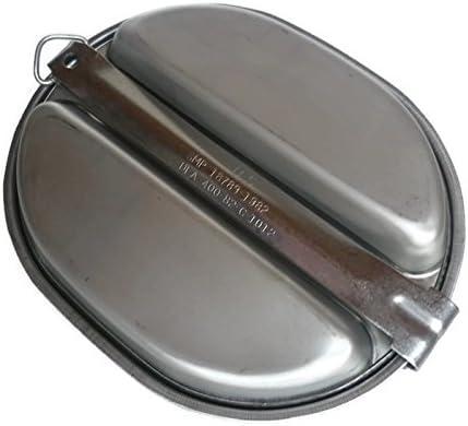 stoviglia in acciaio inox originale dell/'esercito americano stoviglia da sopravvivenza 2 pezzi MSP USA no replica con numero di fornitura