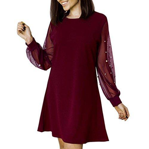 ZIYOU Sommer Herbst Kleider Damen, Beiläufige Blusenkleid T-Shirt Tops Kleid  Knielang Kleid Frauen 9218dc3928