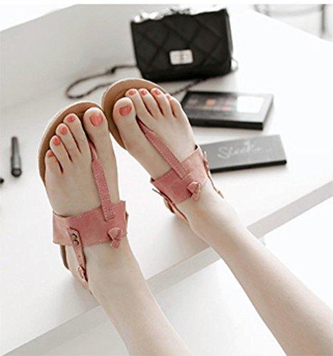 ... Chfso Kvinners Comfy Backstrap Split Tå Spenne Flate Sandaler Flopper  Flops Rosa