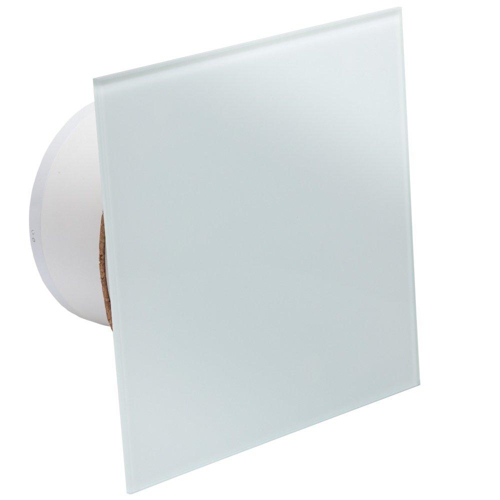 Ventilator//L/üfter Badl/üfter mit integrierte R/ückschlagklappe Glasfront stark 105 m/³//h sehr leise 29 dB Kugellager Hergestellt EU Schwarz 105 m/³//h Weiss