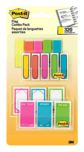"Post-it Flags Assorted, 120- 1"" Wide & 200- 1/2"" Wide Flags, 4-On-The-Go Dispensers/Pack (683-XLS)"