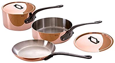 Mauviel M'Heritage Copper 5-Piece Cookware Set with Crate Handle Material: Cast Iron
