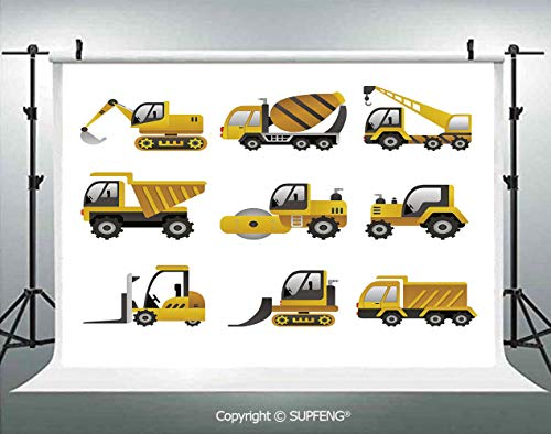 Photography Background Big Vehicles Icon Collection Engineering Building Theme Clip Art Style Decorative 3D Backdrops for Photography Backdrop Photo Background Studio Prop