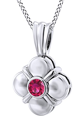 AFFY Round Cut Simulated Pink Ruby Clover Pendant Necklace in 14k Solid White Gold (0.15 Cttw)
