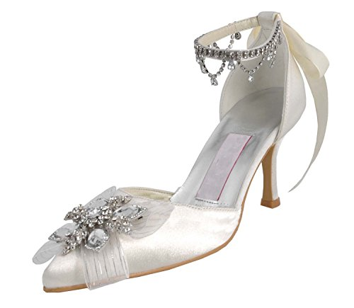 Minishion Donna Mz547 Strass Catene Raso Wedding Party Sera Prom Pompe Scarpe Bianco-7,5 Centimetri Tacco