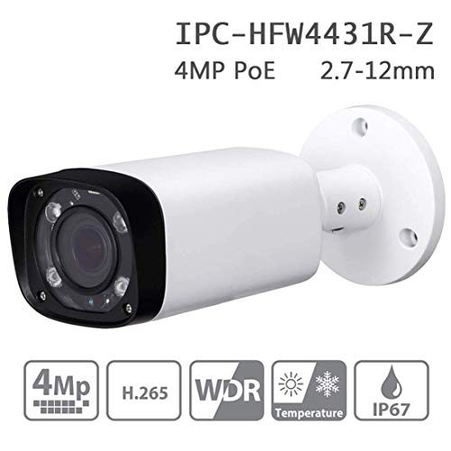 Dahua 4MP Bullet IP Camera IPC-HFW4431R-Z 2.7mm~12mm Varifocal Lens 4X Optical Zoom PoE Network Security Camera Outdoor 80m IR Smart H.265 ONVIF IP67