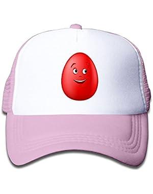 Boy&Girls Red Mesh Caps Trucker Baseball Hat Red Smile Eggs
