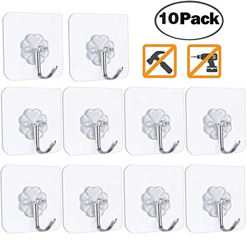 FOTYRIG Adhesive Hooks Heavy Duty Wall Hangers Without Nails 15 Lbs (Max) 180 Degree Rotating Anti-Skid Reusable Traceless Ceiling Hooks for Hanging Bathroom Kitchen Office RV-10 Packs