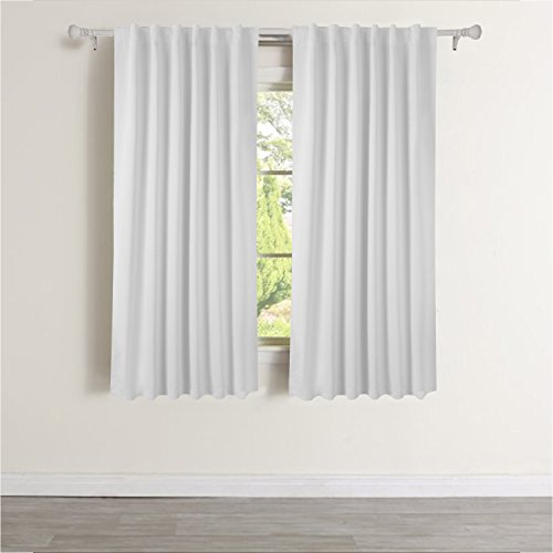 Floweroom Blackout Curtains With Back Tab Rob Pocket Thermal Insulated 52 Inch By 63 Inch Greyish White Two Panels