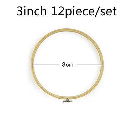 2500 Silk Art Bamboo Circle Tambour Hoop Ring 3 inch 12 piece/Set for Party Decor Embroidery Cross Stitch CXQ12-8