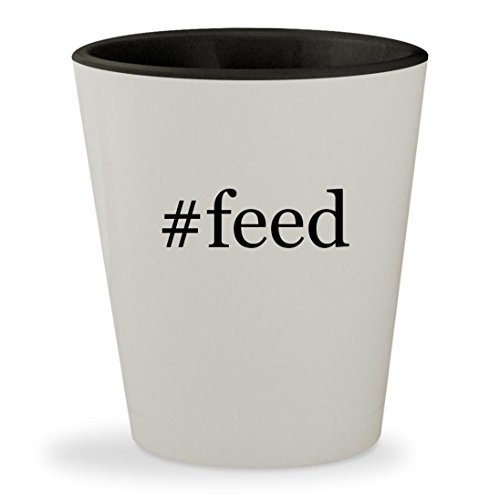 #feed - Hashtag White Outer & Black Inner Ceramic 1.5oz Shot (Feed The Woozle Game)