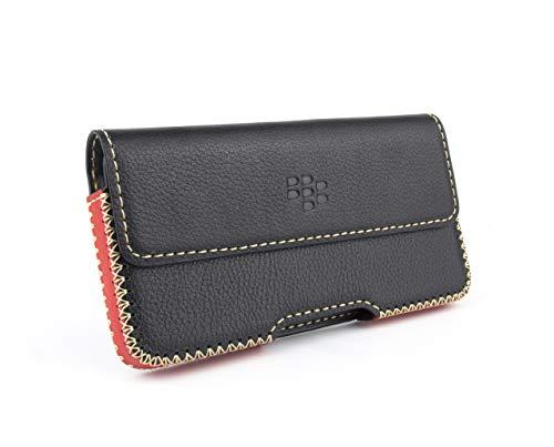 Otis Leather Case for BlackBerry Key2 KeyOne K2 - Horizontal Belt-Loop Handmade Leather Case (Black & Red, Key2) Blackberry Horizontal Leather Case