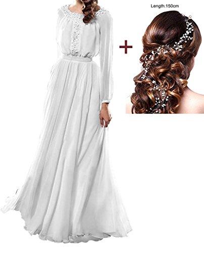 Annies Mariée En Mousseline De Soie Formelle De Robe De Bal Longue Et Robe De Soirée En Dentelle Robe De Mariée Pour White3
