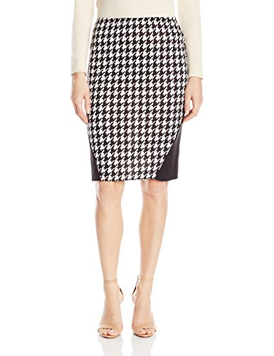 (Star Vixen Women's Plus-Size Stretch Sexy Secretary Pencil Skirt with Insets, Houndstooth/Black 1x)