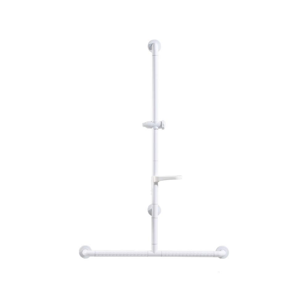 QFFL fushou バスルーム手すり/ステンレススチールバスサポートグラブ/トイレの安全性ノンスリップアームレスト/高齢者用T字型サポートハンドル(2色/ 4サイズ対応) (色 : 白, サイズ さいず : D) B07GZL2W27 D 白 白 D