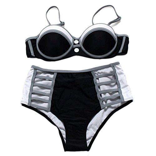 Traje de baño de moda de impresión mezcla de colores bikini Split Spa traje de baño de playa Negro
