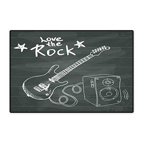 Guitar Door Mat Outside Love The Rock Music Themed Sketch Art Sound Box and Text on Chalkboard Floor Mat Pattern 32