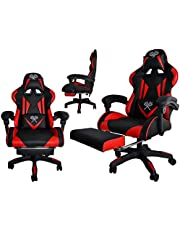 MALATEC Gaming stol kontorsstol skrivbordsstol med fotstöd kudde ergonomisk 8978