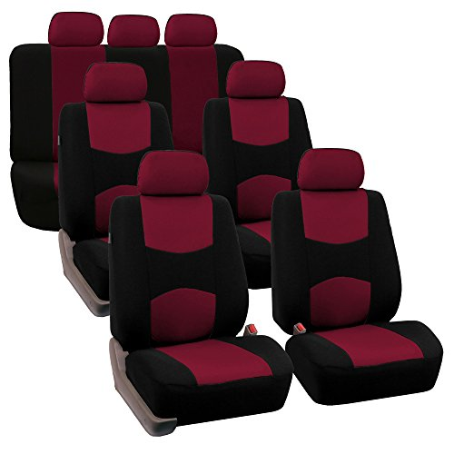 FH GROUP FH-FB050217 Three Row Set Flat Cloth Car Seat Covers (4 Bucket Covers, 1 Solid Bench Cover) , Burgundy / Black Color- Fit Most Car, Truck, Suv, or Van