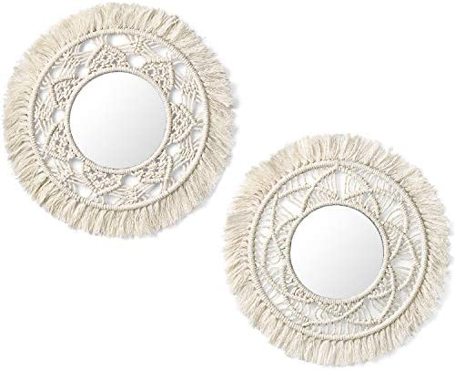Mkono Hanging Wall Mirror with Macrame Fringe 2 Set Small Round Decoratic Boho Antique Mirror for Apartment LivingRoom Bedroom Baby Nursery,Beautiful Gift Ideas