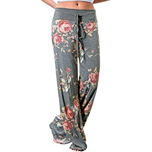 Best Epic Trends 41U8B7AcG1L._SS300_ AMiERY Women's Comfy Casual Pajama Pants Floral Print Drawstring Palazzo Lounge Pants Wide Leg