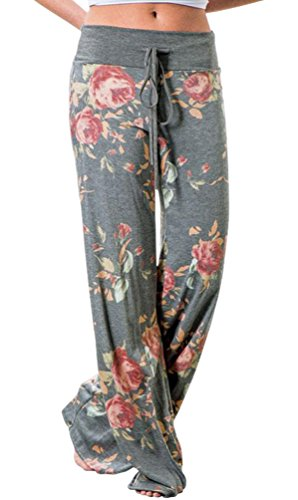 (AMiERY Pajamas for Women Women's High Waist Casual Floral Print Drawstring Wide Leg Palazzo Pants Lounge Pajama Pants (Tag L (US 8), Grey))