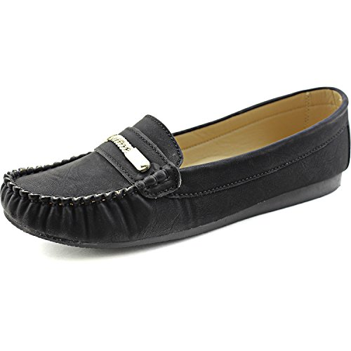 Women's Nature Breeze Crinkled Stitched Loafers Synthetic Slip on Shoes Black 8 B(M) US - 1/2' High Heel Platform Shoes