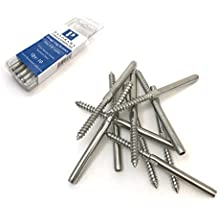 """Panorama Lag Screw Hand-Crimp Swage Stud for 1/8"""" Cable Railing Stainless Steel T316 Marine Grade (Lot of 10)"""