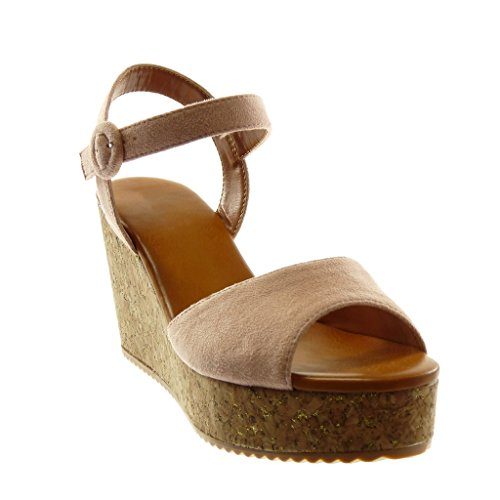 Keilabsatz Heel Sandalen High Plateauschuhe Tanga cm Mule 5 Schuhe 8 String Knöchelriemen Kork Damen Angkorly Schleife AwE7PqvA