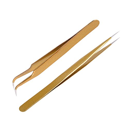 Anself 2Pcs Straight & Curved Tweezers Nippers False Eyelash Extension Stainless Steel Pointed Clip Nail Art Nippers