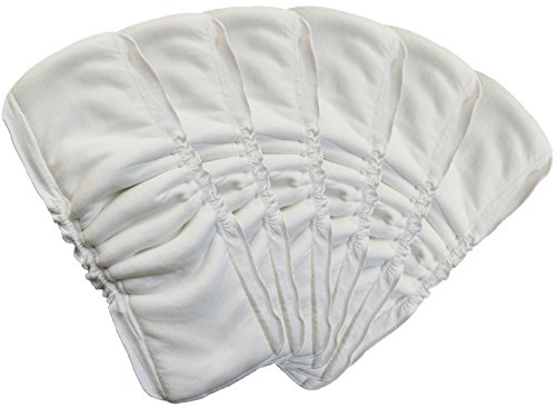 Baby Cloth Diaper Liners 5 Layers Bamboo Viscose Insert Antibacterial (6 Packs, White)