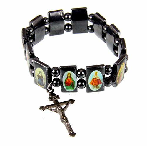 4030273 Hematite Stretch Bracelet Saints Jesus Angels Christian Religious