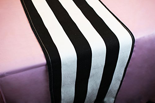 Pink Black and White Party Table Decorations Includes Black and White Striped Table Runner and Pink Tablecloth