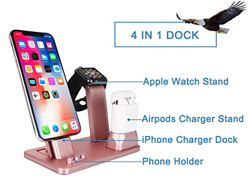 WNJW-Charging-Stand-Station-Compatible-with-iPhone-X88-Plus77-Plus-Aluminum-4-in-1-Charger-Stand-Compatible-with-Apple-WatchAirpodsiPad-Mini-Rose-Gold