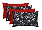 Set of 4 - Indoor/Outdoor Rectangle Lumbar Decorative 20'' x 12'' Throw/Toss Pillows - Lerore Matte Black Abstract Floral & Solid Red