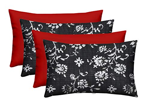 Set of 4 – Indoor Outdoor Rectangle Lumbar Decorative 20 x 12 Throw Toss Pillows – Lenore Matte Black Abstract Floral Solid Red