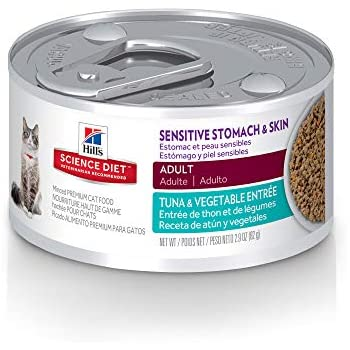 Hills Science Diet Wet Cat Food, Sensitive Stomach & Skin, Tuna & Vegetable Entrée