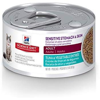 Hills Science Diet Wet Cat Food, Sensitive Stomach & Skin, Tuna & Vegetable Entrée