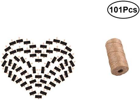 BESTOYARD Holz Craft Clips Set mit schwarz Kreidetafel 100 und Jute Bindfäden 100Yard